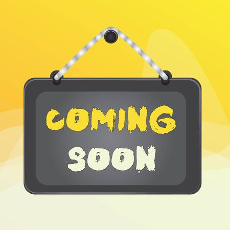 Writing note showing Coming Soon. Business concept for something is going to happen in really short time of period Board fixed nail frame colored background rectangle panel