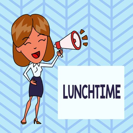 Word writing text Lunchtime. Business photo showcasing Meal in the middle of the day after breakfast and before dinner Young Woman Speaking into Blowhorn Volume Icon Colored Backgdrop Text Box