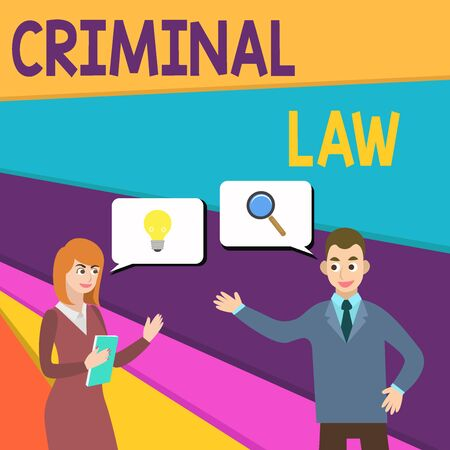 Text sign showing Criminal Law. Business photo showcasing legal system which relates to punishing those commits crime Business Partners Colleagues Jointly Seeking Problem Solution Generate Idea