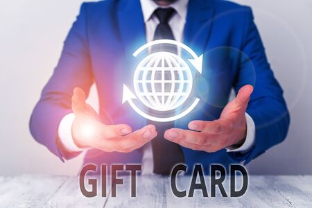 Text sign showing Gift Card. Business photo showcasing A present usually made of paper that contains your message