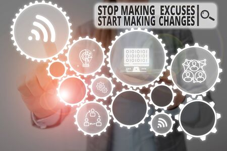 Photo pour Word writing text Stop Making Excuses Start Making Changes. Business photo showcasing Do not give an excuse Act instead Woman wear formal work suit presenting presentation using smart device - image libre de droit