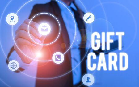 Writing note showing Gift Card. Business concept for A present usually made of paper that contains your message