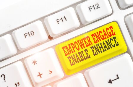 Foto de Conceptual hand writing showing Empower Engage Enable Enhance. Concept meaning Empowerment Leadership Motivation Engagement White pc keyboard with note paper above the white background - Imagen libre de derechos