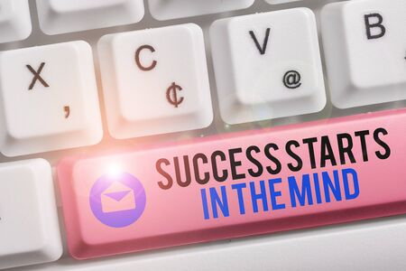Photo for Text sign showing Success Starts In The Mind. Business photo text Have positive thoughts accomplish what you want White pc keyboard with empty note paper above white background key copy space - Royalty Free Image