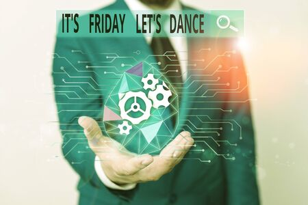 Photo pour Word writing text It S Friday Let S Dance. Business photo showcasing Celebrate starting the weekend Go party Disco Music Male human wear formal work suit presenting presentation using smart device - image libre de droit