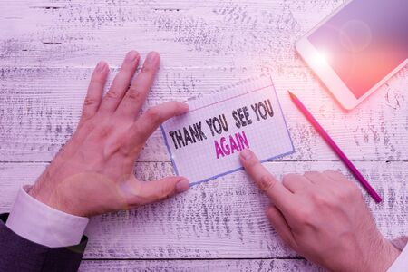 Photo pour Writing note showing Thank You See You Again. Business concept for Appreciation Gratitude Thanks I will be back soon - image libre de droit