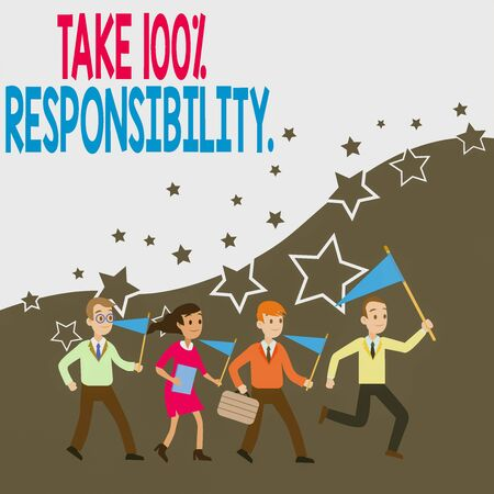 Photo pour Conceptual hand writing showing Take 100 Percent Responsibility. Concept meaning be fully accountable for your Actions and Thoughts Crowd Flags Headed by Leader Running Demonstration Meeting - image libre de droit