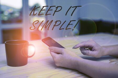 Photo pour Conceptual hand writing showing Keep It Simple. Concept meaning ask something easy understand not go into too much detail - image libre de droit