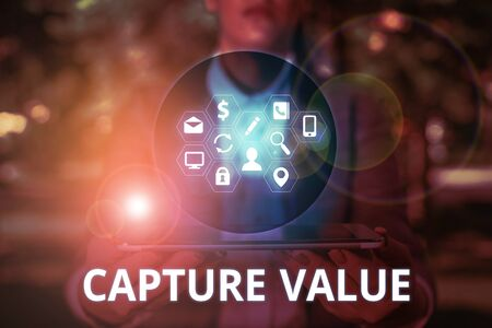 Photo for Text sign showing Capture Value. Business photo text Customer Relationship Satisfy Needs Brand Strength Retention - Royalty Free Image