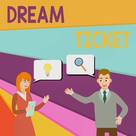 Text sign showing Dream Ticket. Business photo showcasing If an opportunity or a situation is in perfect combination Business Partners Colleagues Jointly Seeking Problem Solution Generate Idea