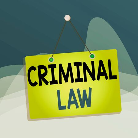 Writing note showing Criminal Law. Business concept for legal system which relates to punishing those commits crime Memo reminder empty board attached background rectangle