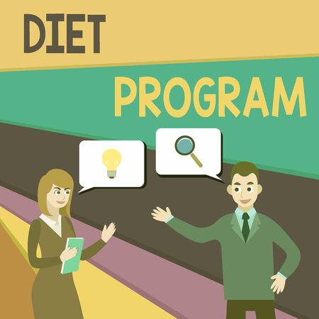 Text sign showing Diet Program. Business photo showcasing practice of eating food in a regulated and supervised fashion Business Partners Colleagues Jointly Seeking Problem Solution Generate Idea