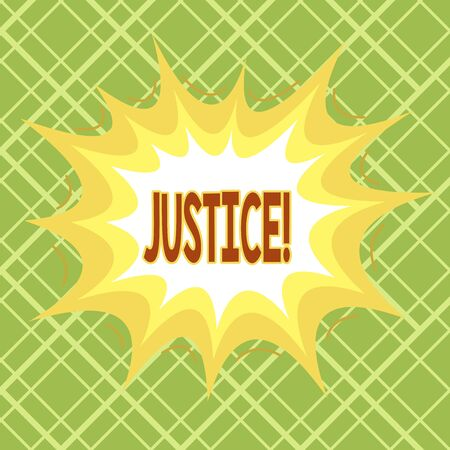 Text sign showing Justice. Business photo text impartial adjustment of conflicting claims or assignments Asymmetrical uneven shaped format pattern object outline multicolour design