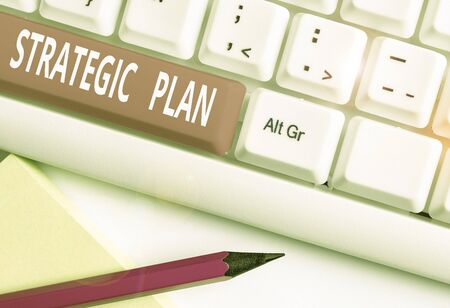 Photo pour Text sign showing Strategic Plan. Business photo text a systematic process of envisioning a desired future White pc keyboard with empty note paper above white background key copy space - image libre de droit