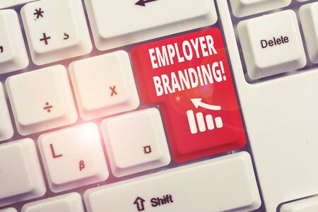 Photo pour Text sign showing Employer Branding. Business photo text promoting company employer choice to desired target group White pc keyboard with empty note paper above white background key copy space - image libre de droit