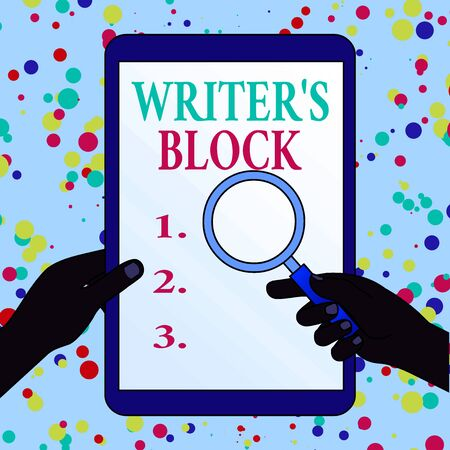 Writing note showing Writer S Block. Business concept for Condition of being unable to think of what to write Hands Holding Magnifying Glass Against Switched Off Touch Screen Tablet