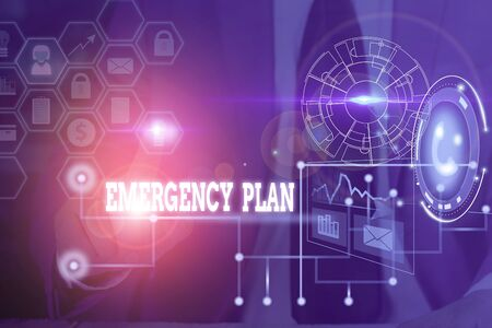 Photo pour Conceptual hand writing showing Emergency Plan. Concept meaning procedures for handling sudden or unexpected situations Picture photo network scheme with modern smart device - image libre de droit