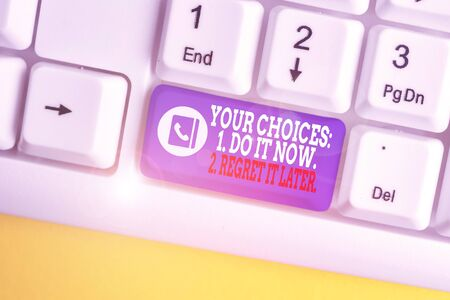 Photo for Writing note showing Your Choices 1 Do It Now 2 Regret It Later. Business concept for Think first before deciding White pc keyboard with note paper above the white background - Royalty Free Image