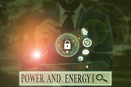 Photo for Handwriting text Power And Energy. Conceptual photo Electricity electric distribution industry Energetic - Royalty Free Image
