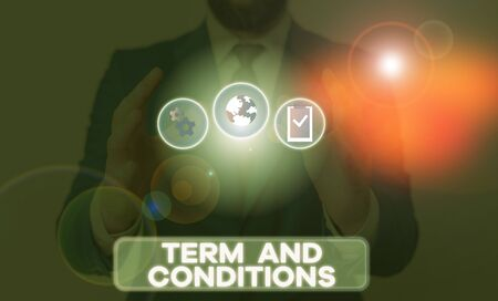 Word writing text Term And Conditions. Business photo showcasing Policies and Rules where one must Agree to Abide