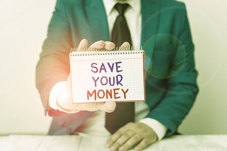 Photo for Conceptual hand writing showing Save Your Money. Concept meaning keep your savings in bank or stock to protect it Dont waste Man holds empty paper with copy space in front of him Space - Royalty Free Image