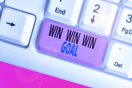 Photo for Writing note showing Win Win Win Goal. Business concept for Approach that aims to satisfy all parties involved - Royalty Free Image