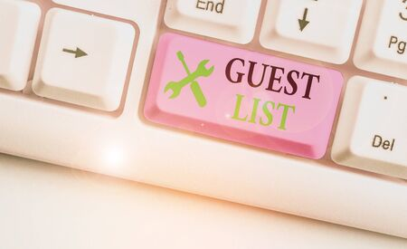 Photo pour Writing note showing Guest List. Business concept for a list of showing who are allowed to enter the show or an event - image libre de droit