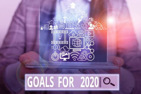Photo pour Handwriting text writing Goals For 2020. Conceptual photo The following things you want to have and achieve in 2020 - image libre de droit