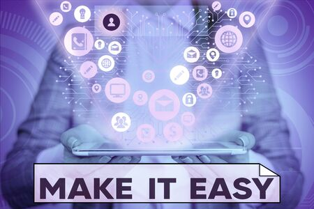 Photo pour Text sign showing Make It Easy. Business photo text Smart approach Effortless Free from worries or difficulties - image libre de droit