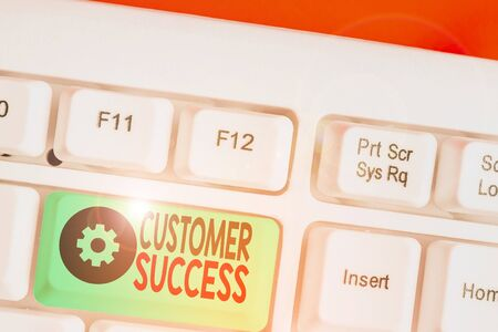 Photo pour Word writing text Customer Success. Business photo showcasing customers achieve desired outcomes while using your product - image libre de droit