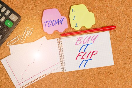 Text sign showing Buy It Flip It. Business photo text Buy something fix them up then sell them for more profit Desk notebook paper office cardboard paperboard study supplies table chart