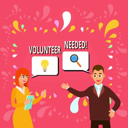 Writing note showing Volunteer Needed. Business concept for asking demonstrating to work for organization without being paid Business Partners Colleague Jointly Seeking Problem Solution