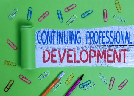 Foto de Conceptual hand writing showing Continuing Professional Development. Concept meaning tracking and documenting knowledge - Imagen libre de derechos