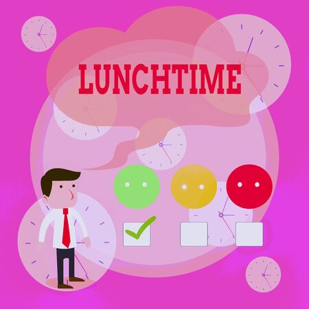 Writing note showing Lunchtime. Business concept for Meal in the middle of the day after breakfast and before dinner White Questionnaire Survey Choice Satisfaction Green Tick