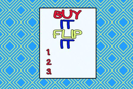 Conceptual hand writing showing Buy It Flip It. Concept meaning Buy something fix them up then sell them for more profit Repeating geometrical rhombus pattern Seamless design Wallpaper
