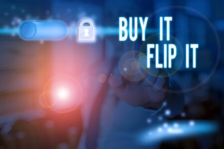 Text sign showing Buy It Flip It. Business photo text Buy something fix them up then sell them for more profit