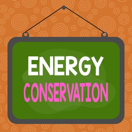 Photo for Handwriting text writing Energy Conservation. Conceptual photo Reduction in the amount of energy consumed in a process Asymmetrical uneven shaped format pattern object outline multicolour design - Royalty Free Image