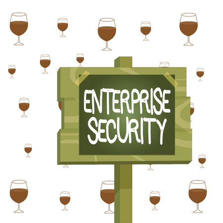 Text sign showing Enterprise Security. Business photo showcasing decreasing the risk of unauthorized access to data Wood plank wooden stick pole paper note attached adhesive tape empty space