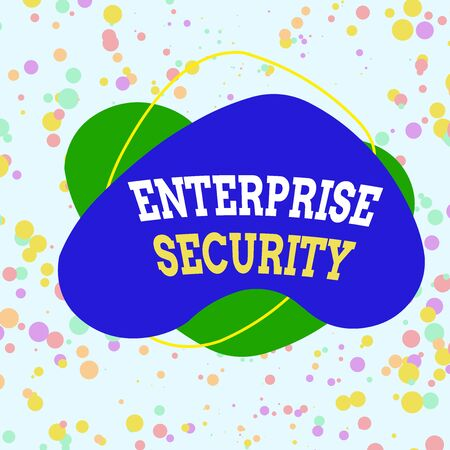 Word writing text Enterprise Security. Business photo showcasing decreasing the risk of unauthorized access to data Asymmetrical uneven shaped format pattern object outline multicolour design
