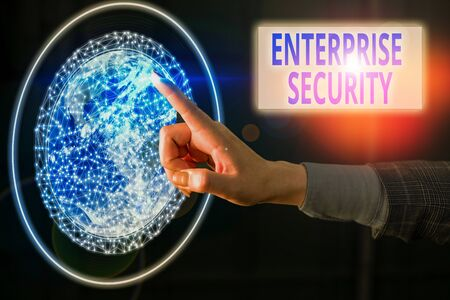 Text sign showing Enterprise Security. Business photo showcasing decreasing the risk of unauthorized access to data