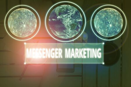 Writing note showing Messenger Marketing. Business concept for act of marketing to your customers using a messaging app