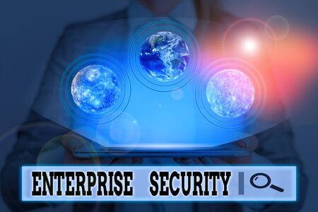 Writing note showing Enterprise Security. Business concept for decreasing the risk of unauthorized access to data