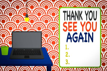 Photo pour Conceptual hand writing showing Thank You See You Again. Concept meaning Appreciation Gratitude Thanks I will be back soon Front view laptop lying on wooden desktop light bulb glass - image libre de droit