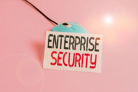 Writing note showing Enterprise Security. Business concept for decreasing the risk of unauthorized access to data Wire vintage electronic mouse squared paper sheet colored background