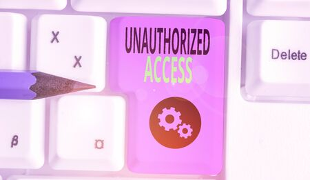 Handwriting text writing Unauthorized Access. Conceptual photo use of a computer or network without permission