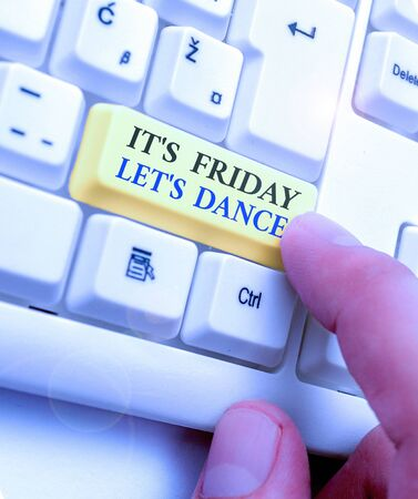 Photo pour Text sign showing It s is Friday Let s is Dance. Business photo text Celebrate starting the weekend Go party Disco Music - image libre de droit