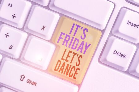 Photo pour Word writing text It s is Friday Let s is Dance. Business photo showcasing Celebrate starting the weekend Go party Disco Music - image libre de droit