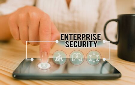 Conceptual hand writing showing Enterprise Security. Concept meaning decreasing the risk of unauthorized access to data