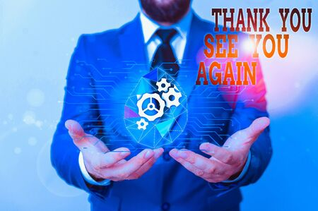 Photo pour Writing note showing Thank You See You Again. Business concept for Appreciation Gratitude Thanks I will be back soon Male human wear formal suit presenting using smart device - image libre de droit
