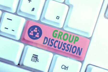 Text sign showing Group Discussion. Business photo text gather either formally or informally to bring up ideas